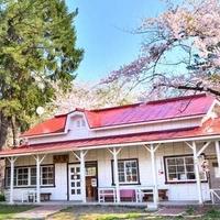 赤い屋根の喫茶店 駅舎の写真